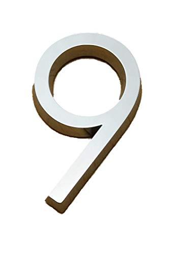 Selbstklebende Chrom Zahlen silber Auto Tür Nummer 3D Hag Höhe 5cm Nummer 9