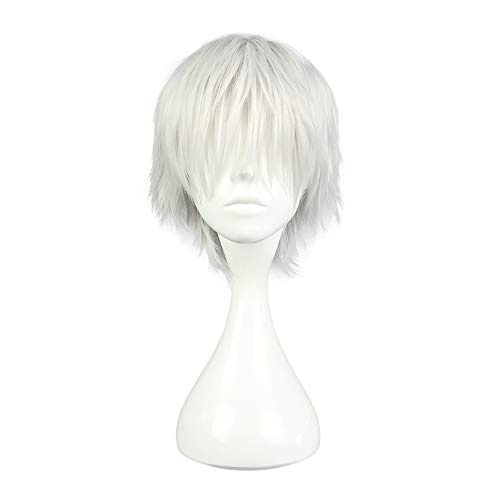 COSPLAZA Perruque Ken Kaneki Tokyo Ghoul courte blanche argentée Anime Cosplay Wig synthétique Cheveux