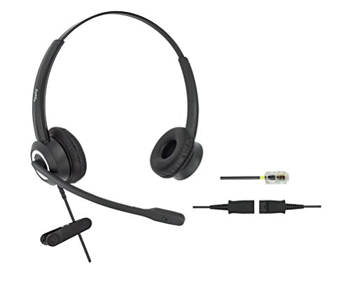RJ9 Cisco Corded Office HD Voice Phone Headset for Cisco IP Phones 6851 6861 7945g 7962g 8811 8841 8845 8851 8861 8961 9951 Series Model,Plus 3.5mm Connector (Binaural)