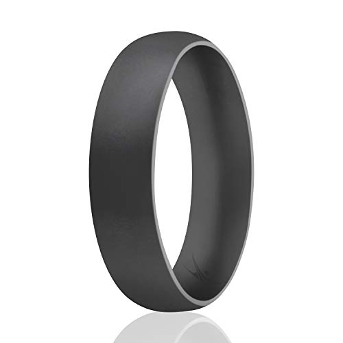 ROQ Silicone Wedding Ring for Men, Affordable Comfort Fit 6mm Manly Metallic Silicone Rubber Wedding Bands - Grey - Size 9