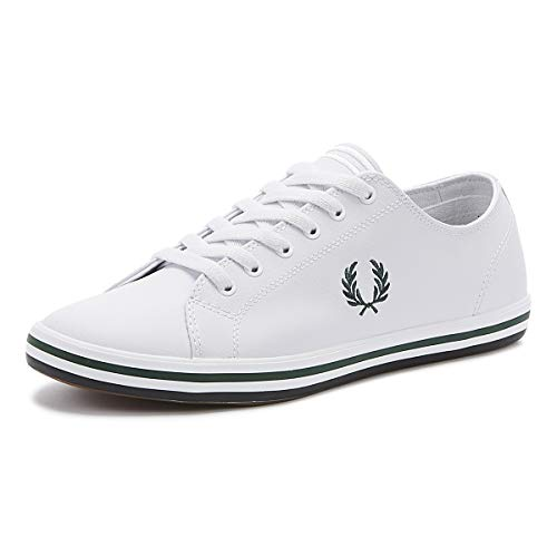 Fred Perry Kingston Leather Zapatillas Blancas/Hiedra para Hombre-UK 6 / EU 39