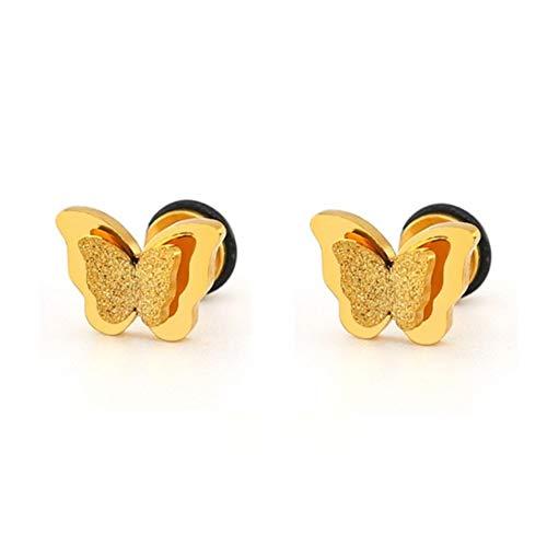 chenyou Joyería de Moda Arco de Rose Oro Oro Conjunto de Doble Capa de la Mariposa de Acero Inoxidable Esmerilado joyería Caja de Regalo Mujer niña para (Color : 60cm, Size : Gold Earring)