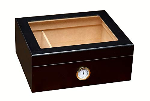 Prestige Import Group Chalet Glass Top Desktop Cigar Humidor with Hygrometer and Humidifier - Capacity: 20-50 - Color: Black
