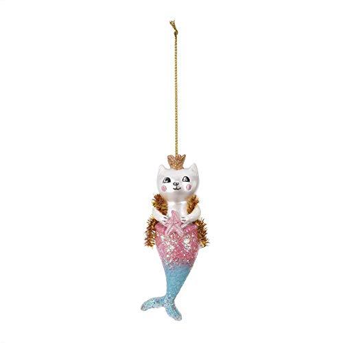 DEMDACO Purrmaid Mermaid Magical Pink Glitter 5 x 2 Resin Stone Holiday Ornament