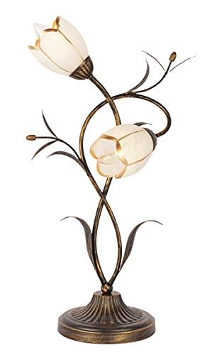 Florentiner Tischleuchte antik, landhausstil Florale Nachttischlampe, Shabby Chic Floral Blumen Tischlampe aus Metall, Glas Schirm Landhaus Schreibtischlampe Wohnzimmerlampe 2 Flammig E27 x 40W
