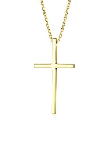 Finrezio 925 Silber Kreuz Kette für Frauen Männer Christian Kreuz Halskette Religiöse Kette Gold
