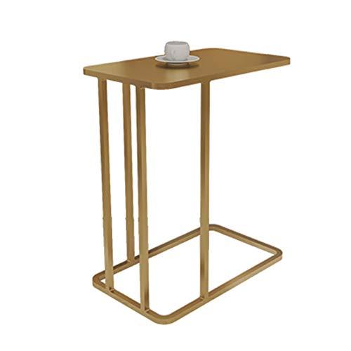 Heizung Tabla pequeña de café Sofá de Oro Mesa de Esquina Cuadrada Mesa de Metal Mesa de Noche Banquitería Bandería Escritorio para Laptop Espacio para Sala de Estar Dormitorio Interior y Exterior
