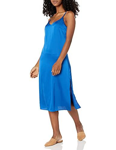 The Drop Damen Ana Midi-Kleid, V-Ausschnitt, seidiger Slip-Dress-Stil, Kobaltblau, M