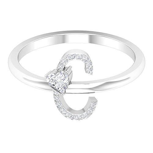 Anillo de diamante en forma de corazón de 3,5 mm, anillo de letra C, anillo grabado personalizado, anillo de alfabeto único, anillo de compromiso de oro, 14K Oro blanco, Size:EU 70