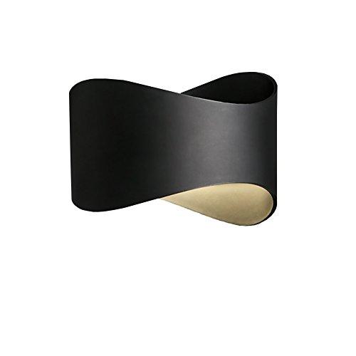 Applique Murale Lampe de Chevet de Chambre à Coucher, Salon lumières décoratives LED Simple a lu Les lumières de Mur lumières d'allée, Noir et Blanc (Couleur : Noir)