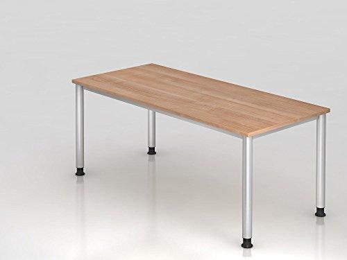 Schreibtisch 4-Fuß-rund 180x80cm, Nussbaum/Silber