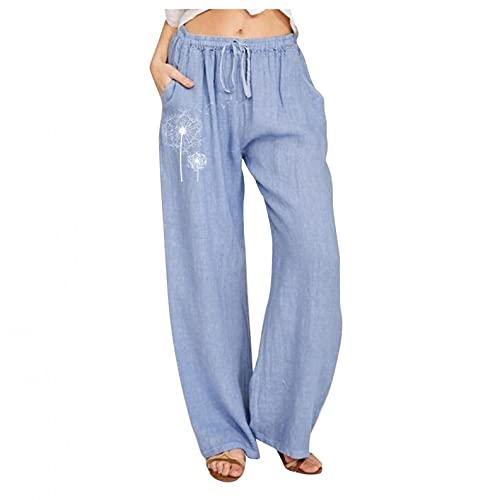 Damen-Yogahose im Bohemian-Stil, locker, bequemer Leinenstoff, weite Beine, modisch, Blumendruck, elastische Taille, Trainingshose, himmelblau, L