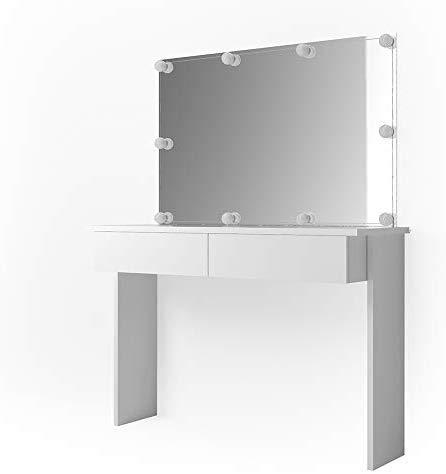 Vicco - Tocador Azur con luz LED, color blanco brillante, cómoda con espejo e iluminación LED