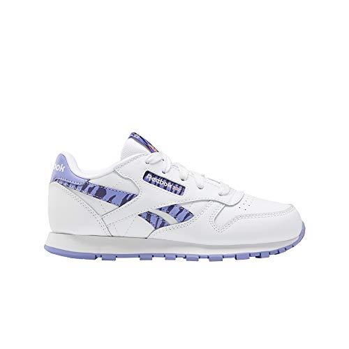 Reebok CL LTHR, Zapatillas de Running Mujer, White Hypprl Drkorc, 34 EU