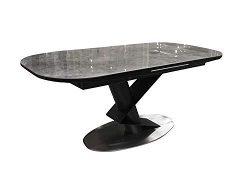 Meubletmoi - Mesa de comedor extensible 180/220 cm, rectangular, bandeja de cerámica efecto mármol y patas metálicas, diseño moderno