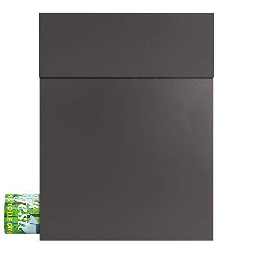 Design-Briefkasten mit Zeitungsfach anthrazit-eisenglimmer (DB 703) MOCAVI Box 500 hochwertiger Postkasten mit Zeitungsrolle modern wetterfest rostfrei