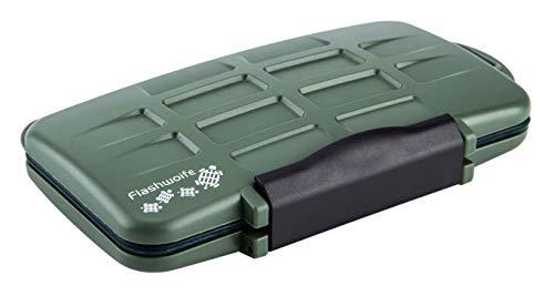 Flashwoife Turtle-SD12MSD24G spritzwasserdichte Speicherkarten Kartenbox Schutzbox, patentierte Aufnahme, 12 x SD Karte und 24 x Micro SD Cards Case Etui, Card Box, Karten Aufbewahrung Tasche Olivgrün