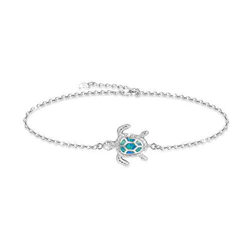 Blue Opal Sea Turtle Ankle Bracelet Sterling Silver Anklet Jewelry For Women Gifts (Large Bracelet)