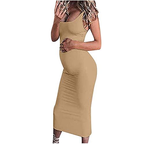 AMhomely Vestidos de maternidad para mujer, vestido de verano con cuello redondo, sin mangas, color sólido, vestido de maternidad, vestido de verano de talla grande, vestido de fiesta bodycon