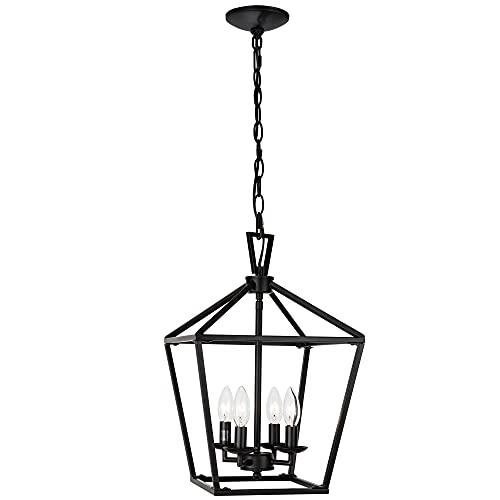 Untrammelife 4-Light Black Lantern Pendant Light, Adjustable Height Square Cage Pendant Hanging...