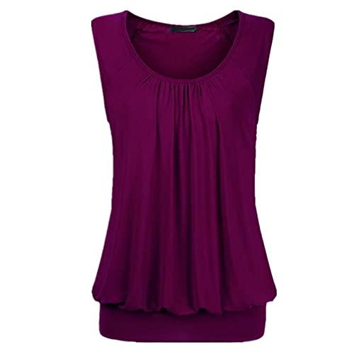 Camiseta Mujer Verano Moda Suelta Cómoda Mujer Manga Corta Vacaciones Ocio Elegante Dulce Color Puro Clásico Todo Fósforo Mujer Top M-Purple XL