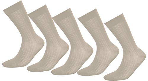 Tiedtke-Medical 5 Paar atmungsaktive Socken Herren I Komfortable antibakterielle Socken mit Sanitized® Oberflächenveredelung I Sport Freizeit Business - Anti Geruch Strümpfe 39-42 beige