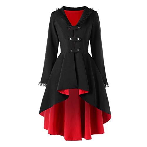 NPRADLA Damen Steampunk Gothic Long Coat Frack Mantel Retro Jacke Barock Punk Kleidung Vintage Viktorianischen Langer Cosplay Kostüm Smoking Uniform(Z-Schwarz,S)
