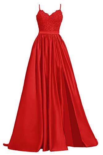 Apxpf Damen Spitzen-Ballkleid, lang, aus Satin, mit Schlitz, formelle Abendkleider mit Taschen - Rot - 48
