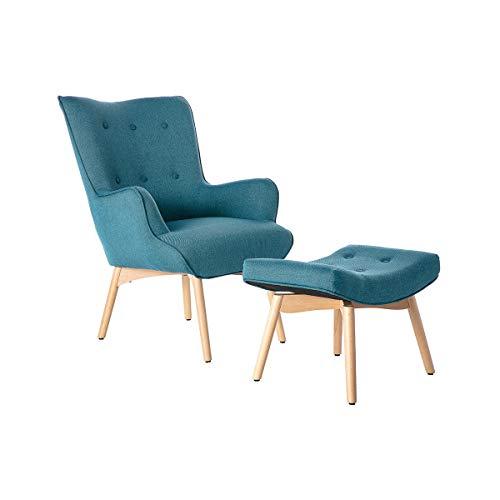 Miliboo Fauteuil Design scandinave et Son Repose Pied Bleu Canard et Bois Clair Bristol