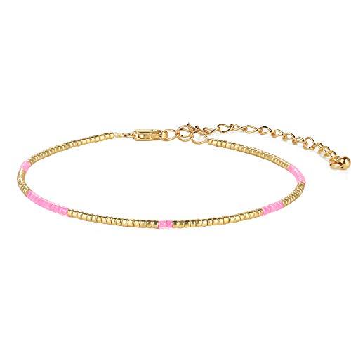 KANYEE Pulsera de cuentas tejida a mano, pulsera hecha a mano, pulsera con nudo para mujeres, adolescentes, rosa, 5B