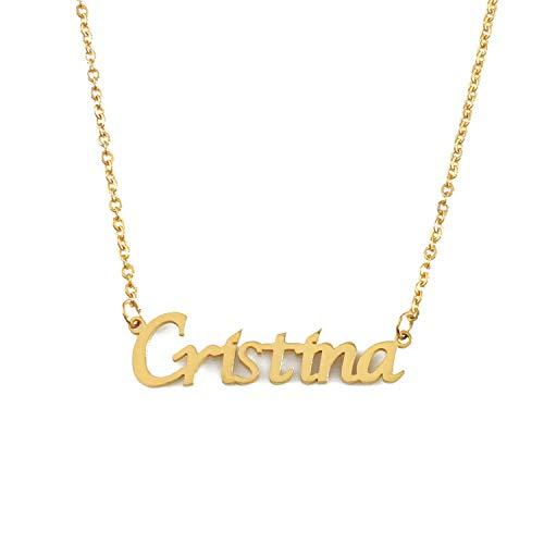 Kigu Cristina Collar con Nombre - Chapado en Oro Personalizado de 18 Quilates - Cadena Ajustable