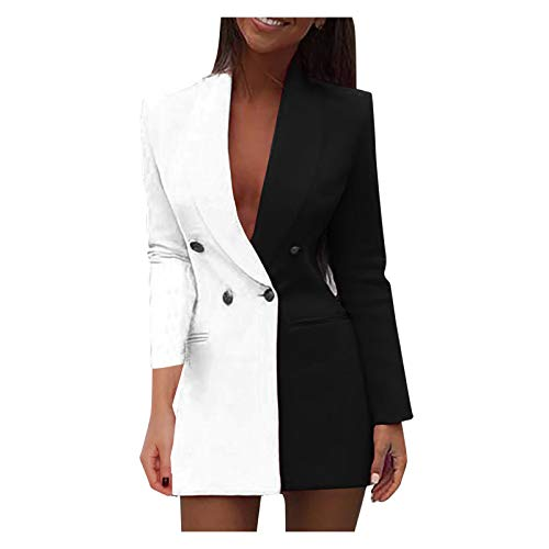 SALUCIA Damen Blazer Kleid Frauen Elegant Langarm V-Ausschnitt Zweireihig Zweifarbig Patchwork Hemdkleid Business Lange Hülse Büro Jacken Knopf Anzug