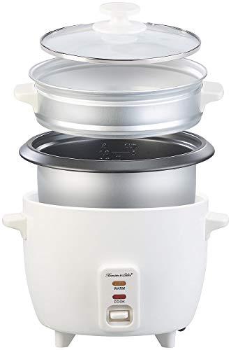 Rosenstein & Söhne Steamer: Reiskocher mit Dampfgar-Einsatz & Warmhaltefunktion, 1 l, 400 Watt (Multikocher)
