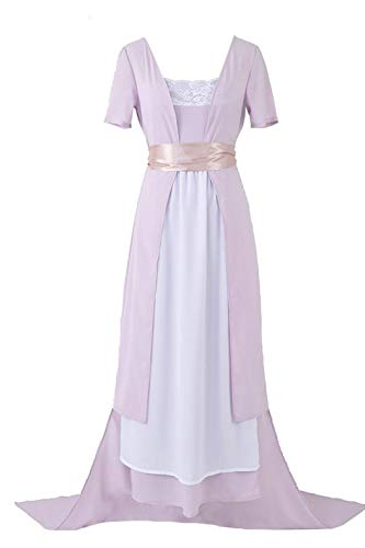 Titanic Rose Cosplay Costume Pink Dress Lovely Lace Mess Long Strap Party S
