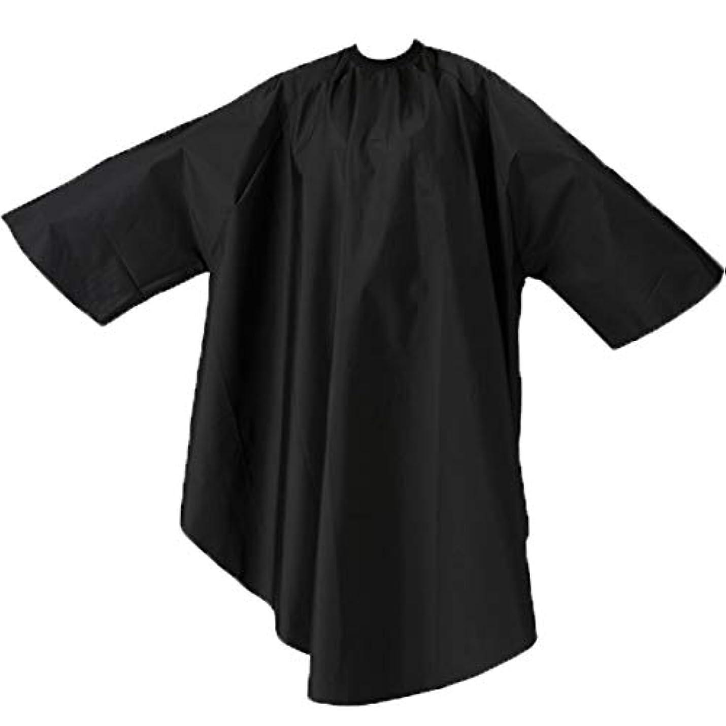 偏心いいねハントエルコ 9762 ザ?クロス SKITT II 袖付 ヘアダイ&カットクロス ナイロン100% ヘアカラー/散髪ケープ/カットクロス/刈布 ELCO (首回り52cm, ブラック)