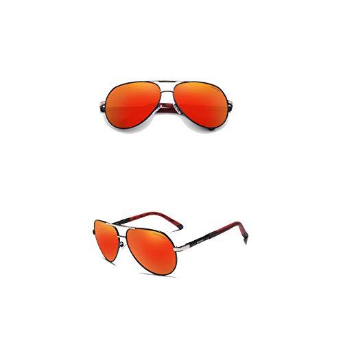 Kingseven Sonnenbrille | Mens Vintage Pilot - Polarisiert (Silber-Rot)