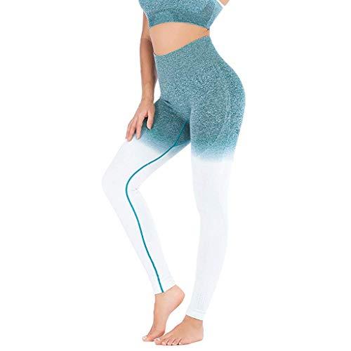 Femmes Leggings Leggings Imprimé en Dégradé Impression Pantalon Stretch Mode Chic Mince Slim Pantalons Sport Pantalons De Survêtement De Vêtements De Mode (Color : Grün White, One Size : L)