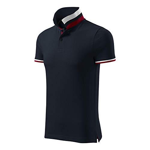 Adler Modisches Herren Poloshirt Collar Up - Super Premium Stoff & Shirt Schnitt | 100% Baumwolle | S - XXXL (256-Navy-3XL)