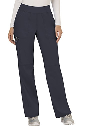 CHEROKEE Women's Mid Rise Straight Leg Pull-on Pant, Pewter, Large