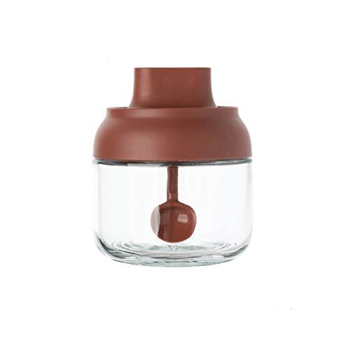 Zsail Tanque De Condimento Salt Msg Sazonador Caja De Vidrio Hogar PP Tapa Salero Sopa Cocina, Negro, Gris, Rojo (Color : Red)
