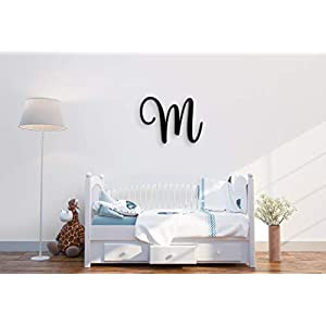 Giant Wall Decor Letters Uppercase M | 24″ Wood Paintable Script Capital Letters for Nursery, Home Décor, Wedding Guest Book and More by ROOM STARTERS (M 24″ Black 3/4″ Thick)