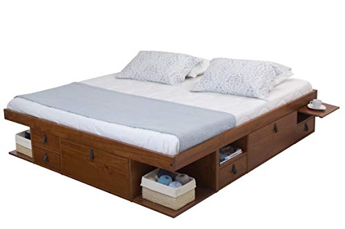 Memomad Bali Storage Platform Bed with Drawers (King Size, Caramel)
