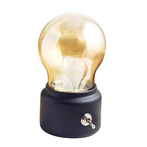 Lámpara de Bombilla LED USB de Luz Nocturna de Estilo Retro Lámpara Cálida de Sala de Estar Junto a La Cama - Negro, 11x7x6cm