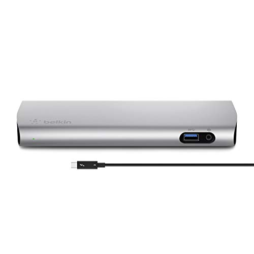 Belkin Thunderbolt 3 Express Docking Station with 80 cm Active Cable, Connects Up to 8 Devices, Multiple USB-C and USB Slots, Supports Single 5K/Dual 4K Displays, Compatible with Mac Only - Aluminium