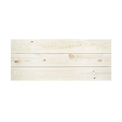 Decowood - Cabecero para Cama Dormitorio, Lamas Horizontales Corte Recto, Madera de Pino Flandes Natural - 80 x 60 cm