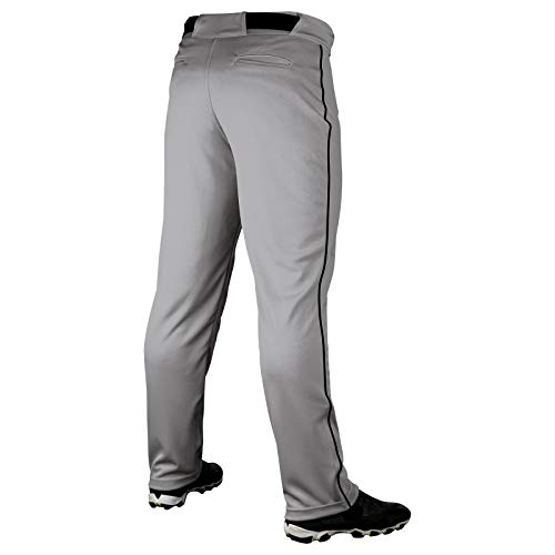 Champro Sports Adult Triple Crown Open Bottom Piped Pants, Mens, BP91UAGBPM, Grey/Black, M