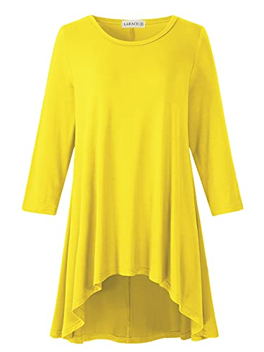 LARACE Womens Plus Size 3/4 Sleeve Loose Fit Flare Swing Tunic Tops Floral High Low Basic T Shirt, Yellow 5X