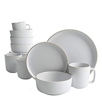 Gibson Home Zuma 16 Piece Round Kitchen Dishes, Plates, Bowls, Mugs Dinnerware Sets, Service for Four (16pcs), White