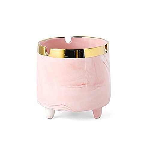 DIWA Cenicero de cerámica, Alrededor de un Simple cenicero Flojo, 3.3 * 3.1in, para Interiores/Exteriores/terraza/de Escritorio/decoración (Color : Pink)