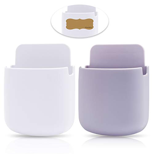 Remote Control Holder Wall Mount Media Storage Box Hole-Free for Bedside Table Phone(2-Pack) (2)